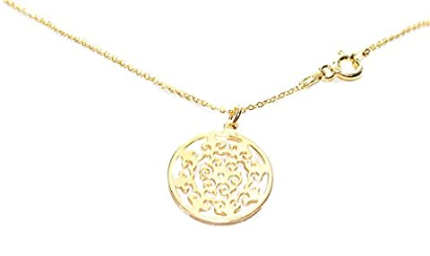 Ah! Jewellery HOT! Celebrity Style Layered Vermeil 24K Gold Over Sterling Silver Open Work Circle Necklace. 45cm Chain. 1.7CM Pendant. Elegant And Stunning Design. Stamped 925. Outstanding Quality.