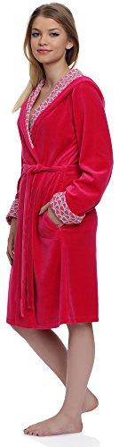 Merry Style Accappatoio con Cappuccio per Donna Hearts Rosa/Rosa