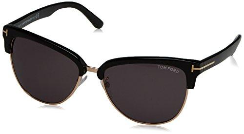 Tom Ford Damen FT0368 01A 59 Sonnenbrille, Schwarz (Nero Lucido/Fumo),