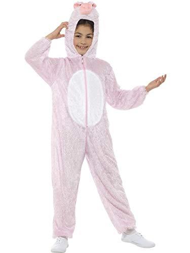 Halloweenia - Kinder Jungen Mädchen Kostüm Plüsch Schwein Pig Schweinchen Fell Einteiler Onesie Overall Jumpsuit, perfekt für Karneval, Fasching und Fastnacht, 122-134, Rosa