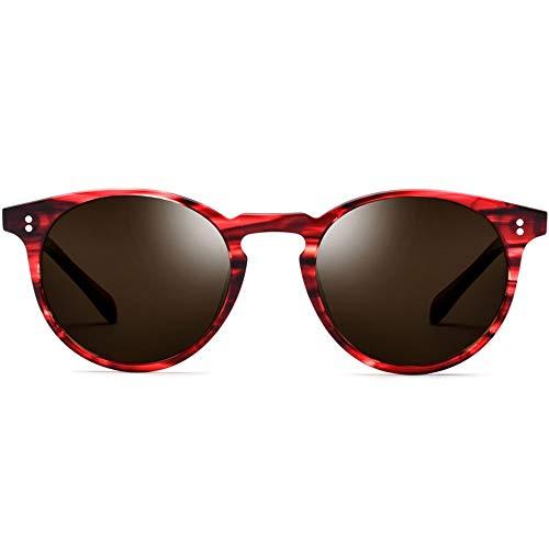 Herren Retro Runde Brille Leopard Frame Frame Brown Objektiv UV400 Schutzplatte polarisierte Sonnenbrille Brille (Farbe : Red)