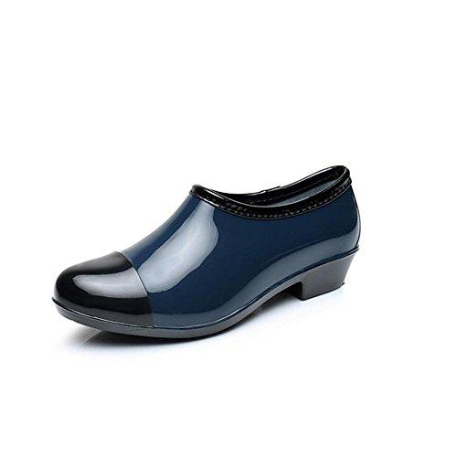 SIHUINIANHUA Damen niedrig, um zu Helfen, Regenstiefel/Flache Schuhe/Wasserdichte Schuhe/Flache Mundwasserschuhe zu regnen, Blue, 39