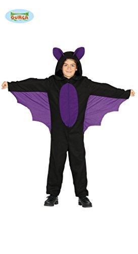Guirca Fledermaus Kostüm mit Flügeln für Kinder Jungen Mädchen Halloween Schwarz Lila Kleid Gr. 98-146, Größe:128/134