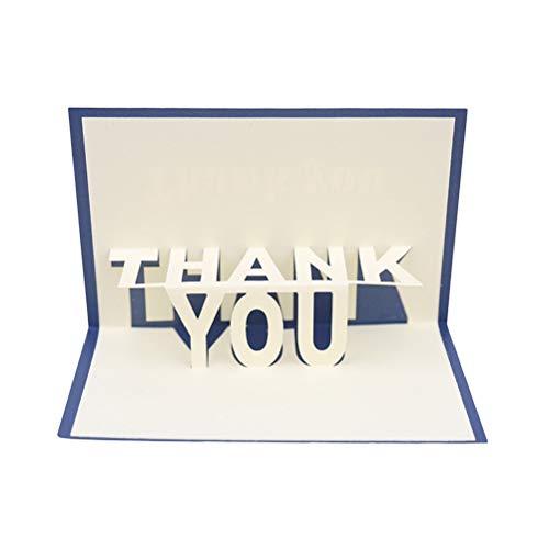BESTOYARD Danksagung 3D Pop-up-Grußkarten Danke handgemachte Wunsch-Karte Hollow Papercraft für Muttertag (blau)