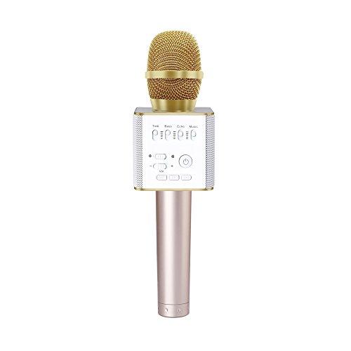 MAVIE Microfono senza fili Bluetooth portatile, sistema di registrazione Karaoke e sistema audio altoparlante stereo compatibile con iphone IPhone Android Ipad PC (Golden)