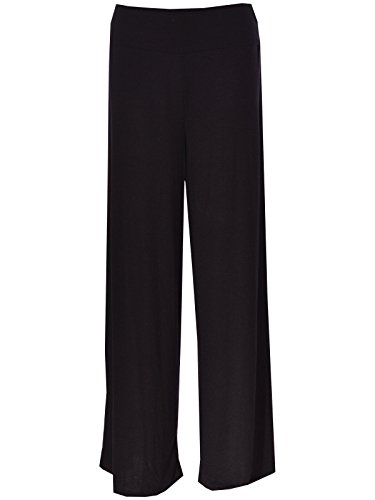 New Plus Size Womens Plain Palazzo Wide Leg Flared Ladies Trousers Pants 8-26 (UK-XXL(20-22), Black)