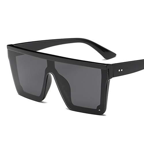 Übergroße Quadratische Sonnenbrille Männer Frauen Flat Top Fashion One Piece Objektiv Sonnenbrille For Frauen Marke Shades Spiegel (Lenses Color : Black)