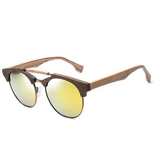 Easy Go Shopping Large Frame Polarized Unisex Classic Vintage Sonnenbrille 100% UV-Schutzplatte Holz Sonnenbrille Sonnenbrillen und Flacher Spiegel (Color : Gold, Size : Kostenlos)