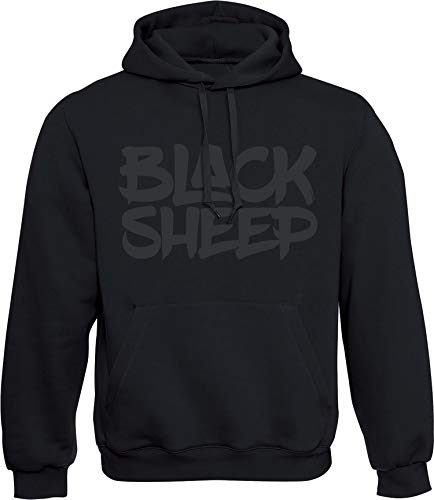 Hoodie: Black Sheep - Schwarzes Schaf - Urban Streetwear Kapuzenpullover für Herren & Damen - Geschenk Hip Hop Rap - Sweatshirt Gangster - Sweater MMA Fight Boxer - Nerd Gamer - Sport Kapuze-n (3XL)