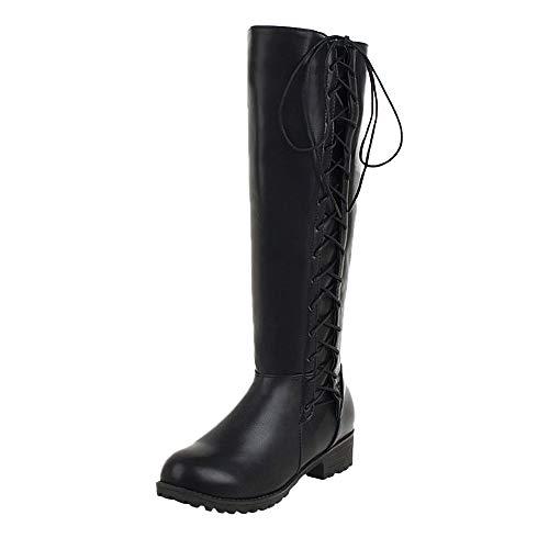 Knie Lange Boot (Freizeit Frauen Schuh Lace-Up Bow Das Knie Rutschfeste Runde Kappe Lange Tube Martin Boot,Stiefel Damen Schwarz,Heißer)