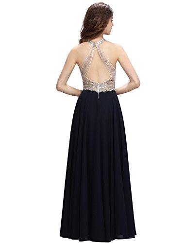 Dressystar Robe de soirée/gala/Cérémonie longue, Sans Manches, dos nu, perlée, en Mousseline,Tulle Bleu