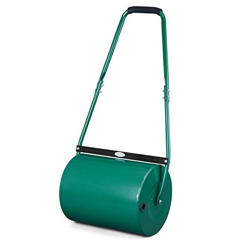 Christow Heavy-Duty Garden Lawn Roller, Sand Water Filled, 30 Litre Barrel, Scraper Bar Rust-Resistant Steel, Push Rolling Drum