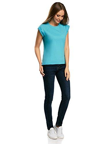 oodji Ultra Damen Lässiges T-Shirt Basic mit Unbearbeitetem Saum Türkis (7300N)