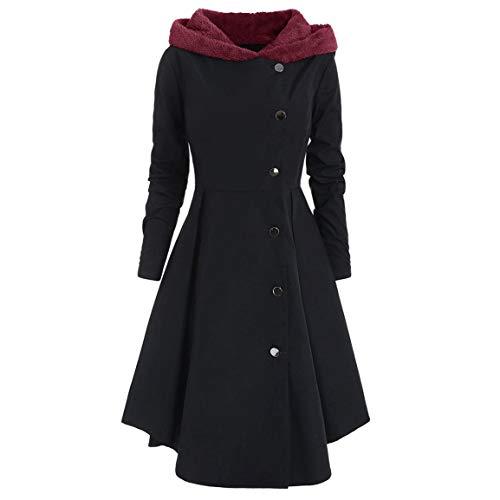 Frauen Langer Mantel Damen Plus Size Windbreaker Asymmetrische Fleece Mit Kapuze Einreiher Lange Drap Knöpfe Mantel Moonuy