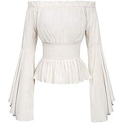 Camisa Medieval Mujer Elegantes Top para Playa Fiesta Manga Larga Y Hombros Descubiertos Blanco M