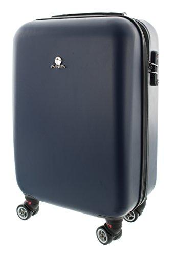 100% ABS Koffer / Trolley mit TSA Schloss und 8 Rollen, in 3 Farben, Pianeta Serie Paris (XL (75cm), Dunkel Blau)
