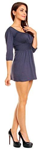 Zeta Ville Top Tunica Vestito con gonna corta e scollatura quadrata donna 940z Blu Grigio