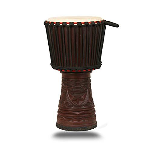 FZSG6 Verstellbares Percussion-Instrument handgeschnitztes Gemälde afrikanischer Walnuss-Holz Afrikanische Trommel mit Ziegenhaut kleinen afrikanischen Kontinent Farbmuster - Afrikanische Walnuss