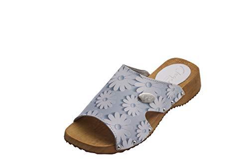 Blaue Blume-clogs (CLOGERS Originale Damen Pantoletten I Clogs aus Holz Klotschen Holz Pantoletten Damen Schuhe I Holzsohle Gartenschuhe Holzabsatz (39 EU, Blau Blumen))