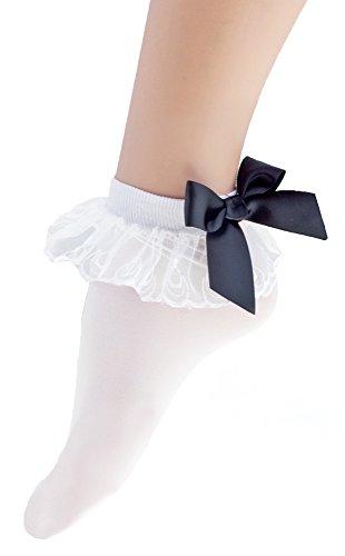 Retro Kostüme (Weiße Strümpfe mit Rüschen und schwarzer Schleife für Damen - Söckchen zum 50er 60er Jahre Retro)