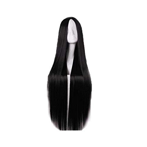 (Wig schwarze, mittellange, gerade Haar, schwarze Dame kurze, gerade Haare schlanke Gesichtshaube,Black)