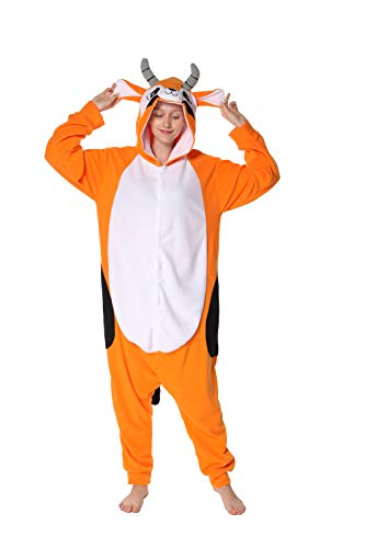 Kostüm Männer Süße Tier - dressfan Strampler Adult Unisex Tier Antilope Overall Cosplay Kostüm Halloween Weihnachten Pyjamas