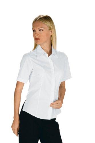 Isacco Bluse Kyoto, Weiß, L, 65% Polyester, 35% Baumwolle, halbärmlig, Piqué