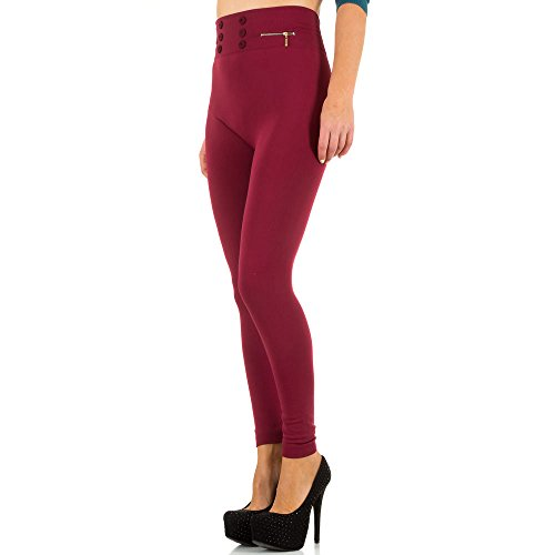 Damen Leggings, WARM GEFÜTTERTE HIGH WAIST ZIPPER, SS-BFPAN0074-1 Weinrot