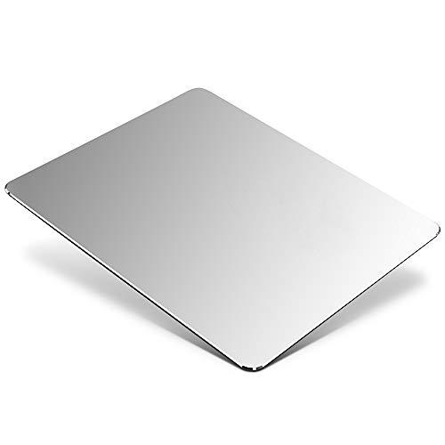 Aluminium Metall Mauspad Gaming Mouse Pad Aluminium-Mausunterlage, Mauspad mit Glatter Präzisionsoberfläche und Rutschfester Gummibasis für Laser-/optische Maus,Silber (23 x 18x 0,2 cm) -