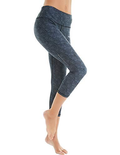 COOLOMG Damen Sport Leggings Yoga Hosen-Fitnesshose, A-schwarz (Capri), Gr.-XL -
