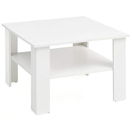 B14548 Weiß 60x42x60 cm Design Holztisch mit Ablage | Wohnzimmertisch Coffee Table | Sofatisch Loungetisch Holz | Kaffeetisch Stubentisch mit Stauraum | Tisch Wohnzimmer ()