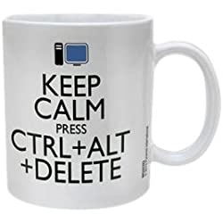 "Pyramid International - Taza (cerámica), diseño con texto ""Keep Calm Press Ctrl + Alt + Delete"""