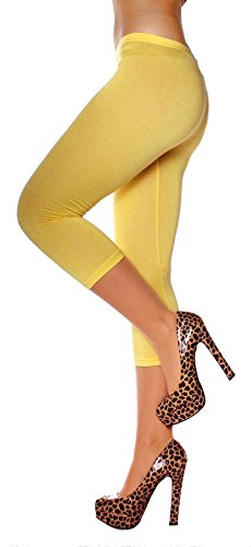Easy Young Fashion Damen Legging Caprileggings 3/4 Bein Baumwolle uni One Size Gelb