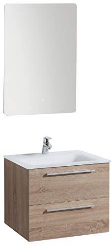 Badmöbel-Set M600 Eiche geweißt mit Glaswaschbecken - Spiegel optional, Spiegel:Mit Spiegelschrank G600, Waschbecken Glasart:Weiß matt