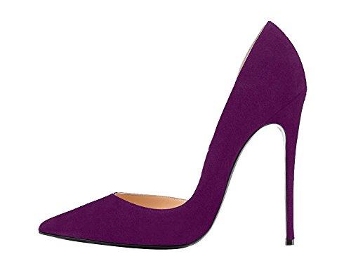 Guoar High Heels Große Größe Damenchuhe D'Orsay&Two-Piece Spitze Zehen Mehrfarbig Stiletto Pumps Büro-Dame Party Hochzeit A-Dunkellila Samt