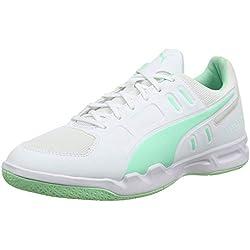 PUMA Auriz, Zapatos de Futsal para Hombre, White-Green Glimmer, 43 EU