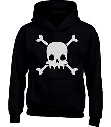 Shirt Schwarz Pirat Kostüm - Totenkopf Pirat Shirt Halloween Kinder Kostüm Kinder Kapuzenpullover Hoodie M 122/128 (7-8J) Schwarz