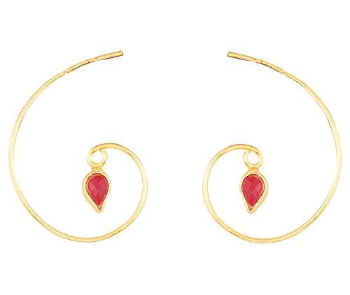 Touchstone orecchini a cerchio con gioielli di design in rubino kundan polki kundan con borchie indiane per donna rosso