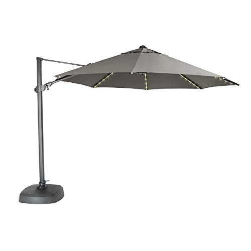 Kettler Sonnenschirm mit LED-Lichtern und Bluetooth-Lautsprecher, 3,5 m, Taupe