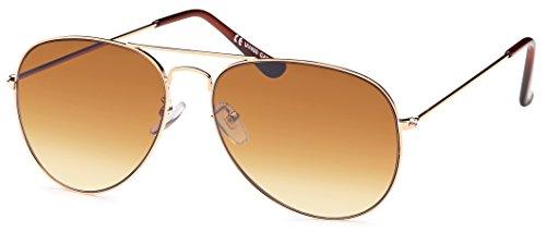 moderne Sonnenbrille Authie im Aviator- Style mit Verlaufsglas + Brillenbeutel - Damen (braun...