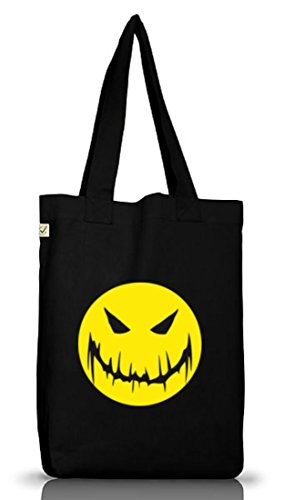 Shirtstreet24, HALLOWEEN SMILEY, Grusel Kostüm Jutebeutel Stoff Tasche Earth Positive, Größe: onesize,Black (Smiley Kostümen)