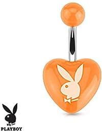 Playboy Adulto conejo impreso corazón acrílico anillo de ombligo de acero