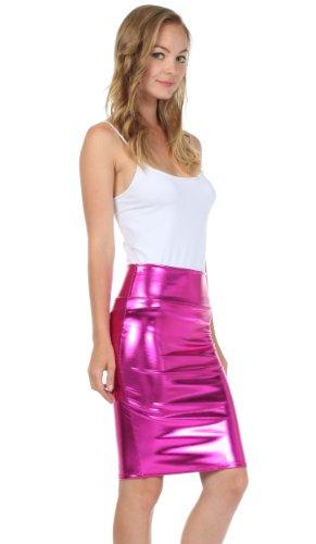 Sakkas Frauen-glänzende metallische Flüssigkeit mit hoher Taille Bleistiftrock Rosa