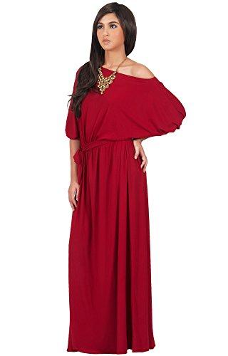KOH KOH® Damen Schulterfreies Maxikleid Cocktail Abend Elegantes Langes Dress, Farbe Rot, Größe M / Medium (Halloween Party Stadt Clearance)