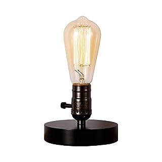 INJUICY Loft Retro Antike E27 Edison Glühbirne Industrielampe Holz Schreibtischlampe Vintage Led Tischlampe für Arbeitszimmer Büro Schlafzimmer Wohnzimmer Tisch Nachttischlampen Tischleuchte (Schwarz)