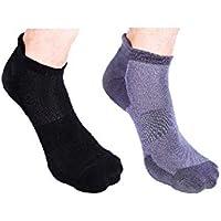 Heelium Men Bamboo Athletic Socks, Ankle, Odour Control, 2 Pairs (Grey and Black)