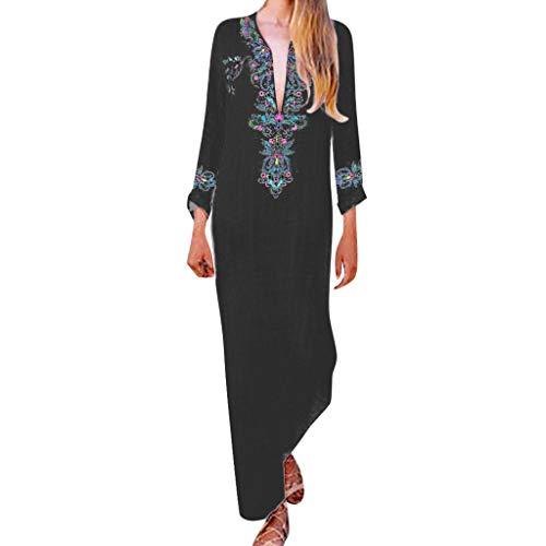 Sannysis Damen Maxikleid Langes Elegantes Kleid Strandkleider Türkischer Stil Boho Strandponcho Lose Maxi Kimono Kaftan Tunika Lange Sommerkleider