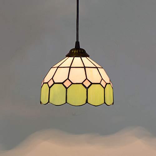 Tiffany-Stil Kronleuchter, Barock 8 Zoll Antike Kunst Farbige Glasschirm Mini Pendelleuchte für Hauptdekor Innenbeleuchtung -