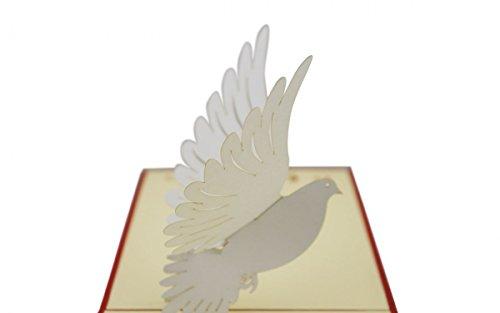 Diese Klappkarte Taufe Pop Up Grußkarte Konfirmation Kommunion weiße Taube 10x17cm