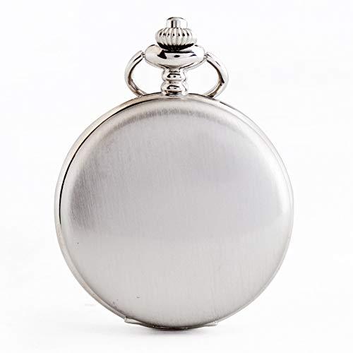 ERDING Taschenuhr,Personalisierte Retro Glatte Männer schwarz Taschenuhr Silber polnischen Quarz Taschenuhren Anhänger mit Kette graviert Geschenk